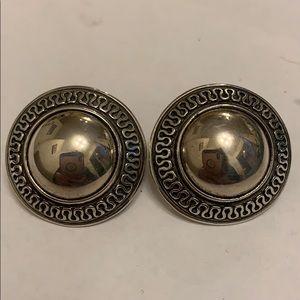 "James Avery Earrings 1"" Gold & Silver Aztec Design"